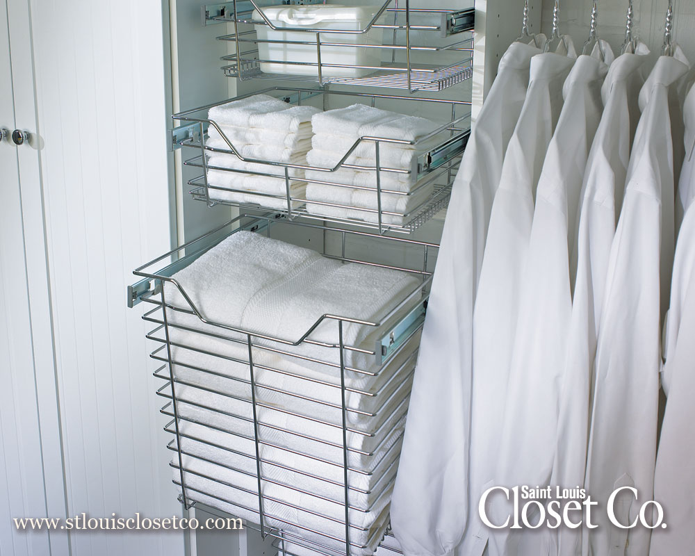 Chrome Baskets In Laundry Room