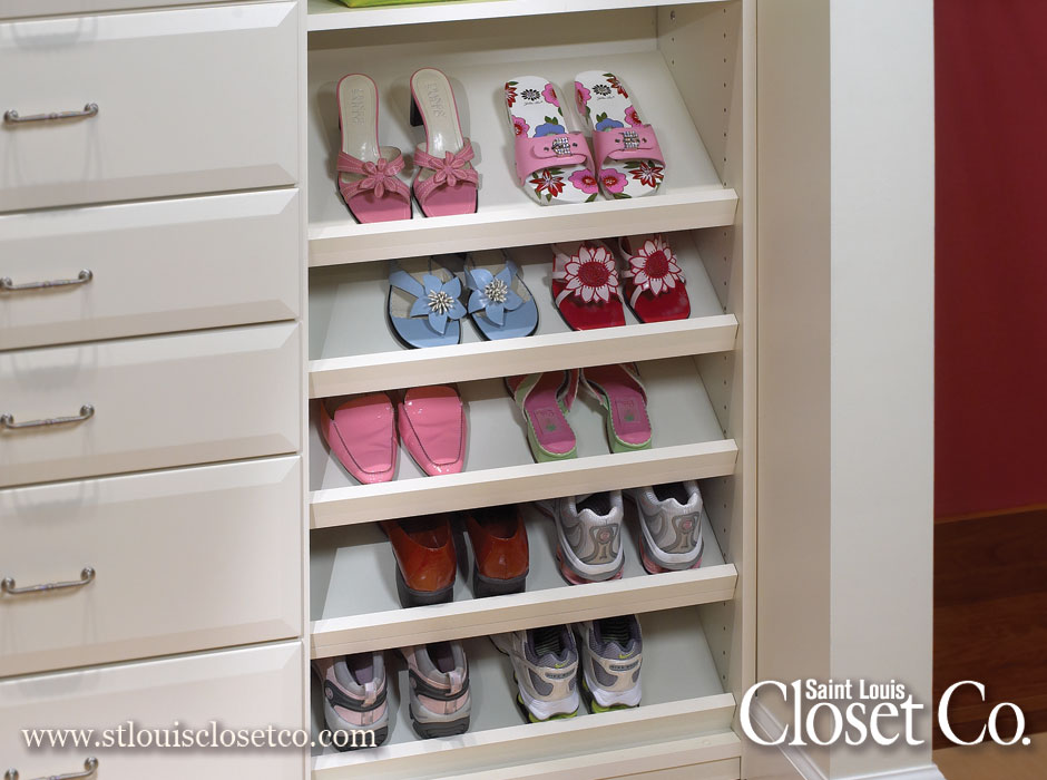 & Slanted Shoe Shelves | Saint Louis Closet Co.
