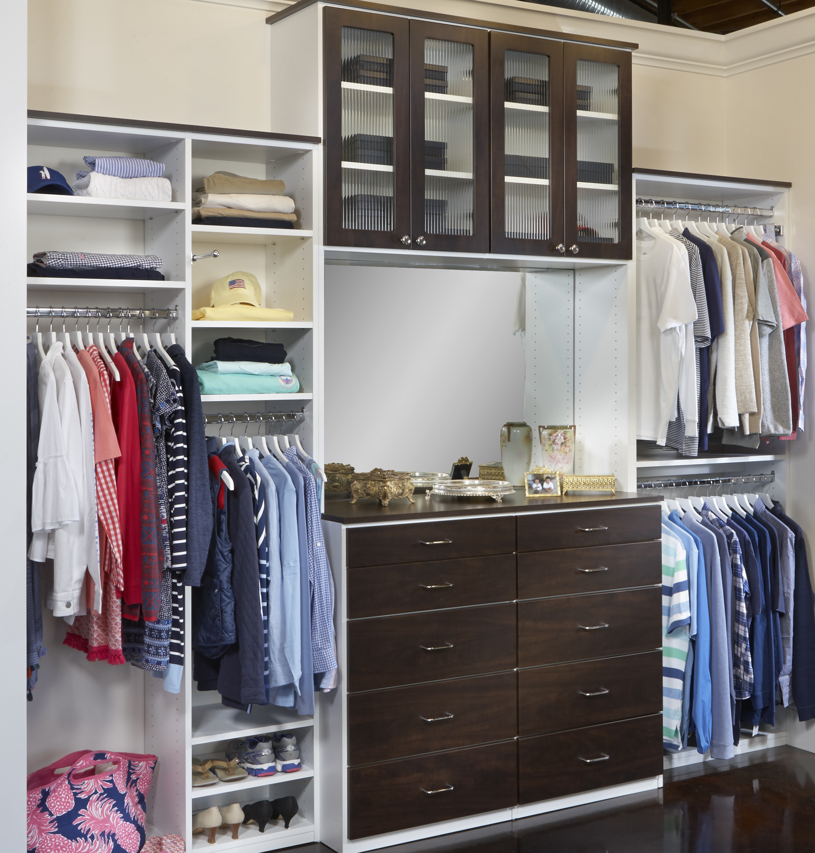 ... Fully Adjustable, Saint Louis Closet Co. Floor Based Closet System With  Glass Doors And Drawers. Add A Mirror And Vanity Shelf To Turn Your Closet  Into ...