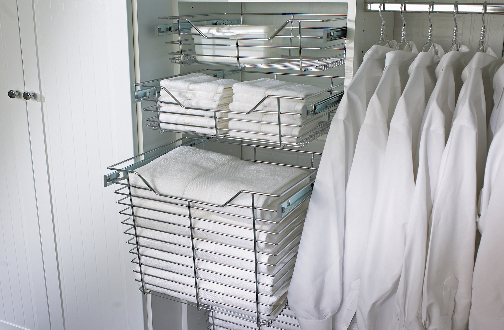 laundry room chrome baskets